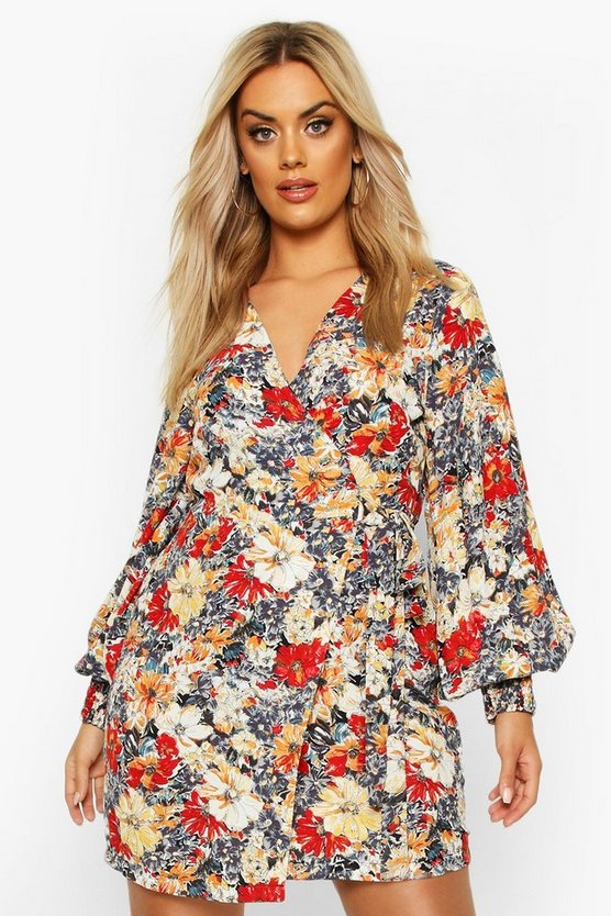 Plus Large Scale Floral Print Belted Wrap Dress
