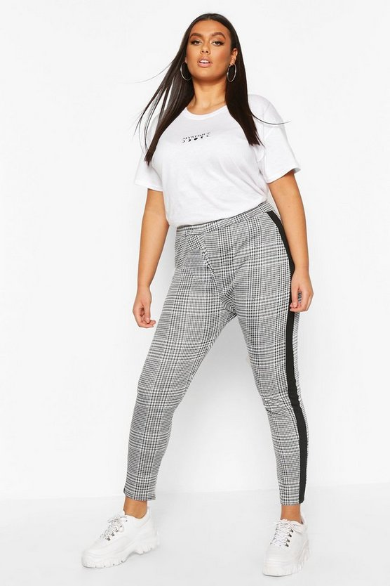 Plus Contrast Check Jaquard Treggings by Boohoo