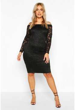 Plus Lace Midi Dress, Black