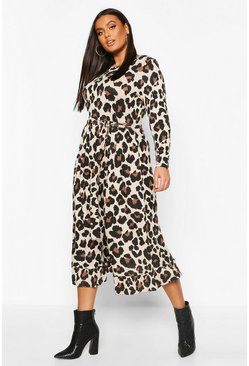 Womens Brown Plus Leopard Tie Waist Ruffle Midi Dress