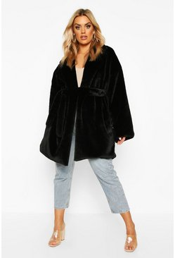 Plus Belted Faux Fur Robe Coat, Black, Femme