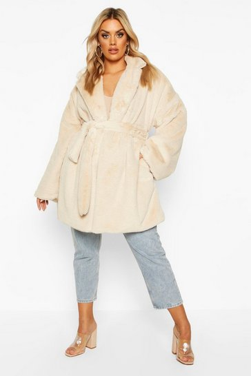 Sand Plus Belted Faux Fur Robe Coat