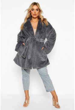 Plus Belted Faux Fur Robe Coat, Slate, Femme