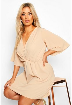 Stone Plus Angel Sleeve Smock Dress
