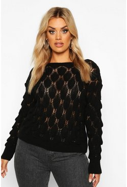 Black Plus Textured Bobble Knitted Sweater