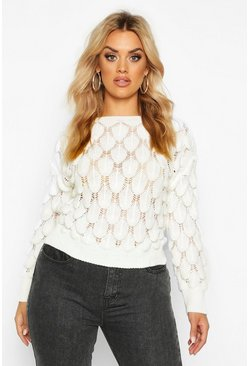 Womens Cream Plus Textured Bobble Knitted Jumper