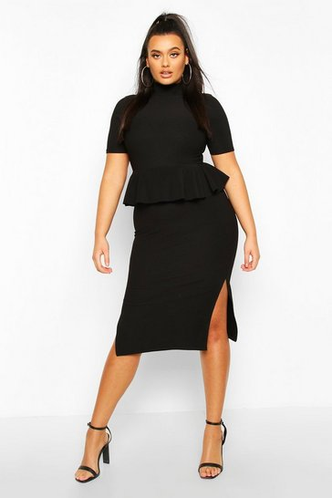 Womens Black Plus Bandage Rib High Neck Peplum Midi Dress