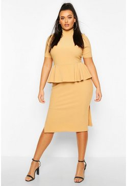 Plus Bandage Rib High Neck Peplum Midi Dress, Stone
