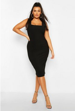 Black Plus Bandage Rib Square Neck Midi Dress