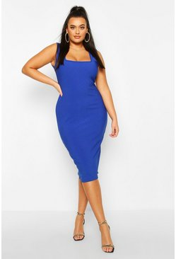 Plus Bandage Rib Square Neck Midi Dress, Cobalt, FEMMES