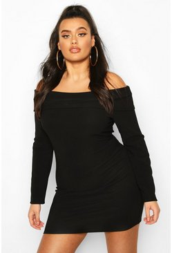 Womens Black Plus Bandage Off The Shoulder Bodycon Dress