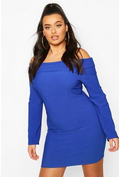 Cobalt Plus Bandage Off The Shoulder Bodycon Dress