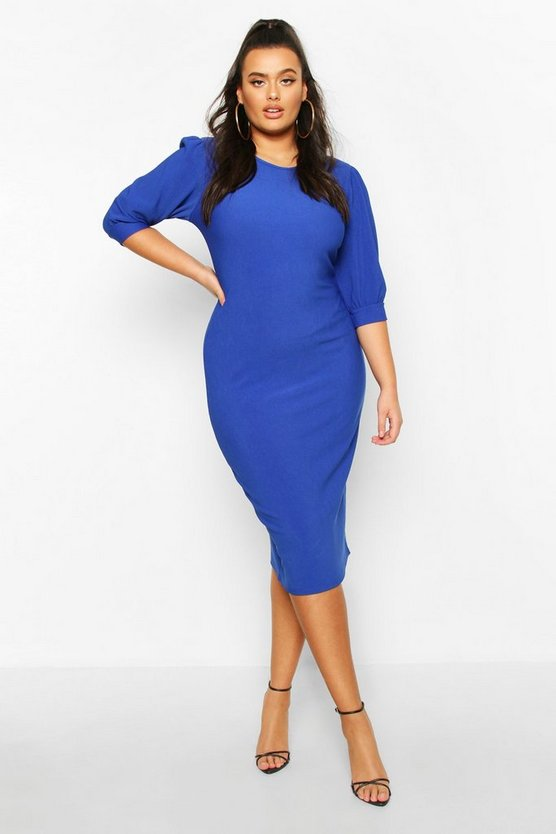 Womens Cobalt Plus Bandage Rib Puff Sleeve Midi Dress