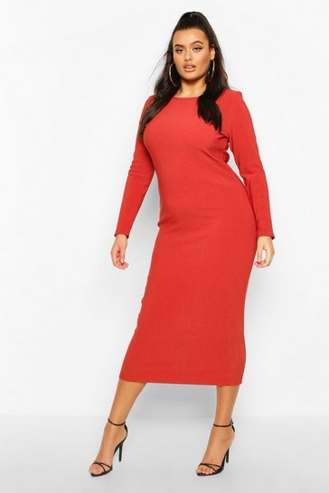 Womens Brick Plus Bandage Rib Long Sleeve Midaxi Dress