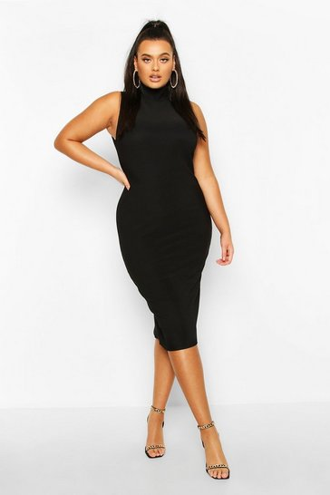 Womens Black Plus Bandage Rib High Neck Midi Dress