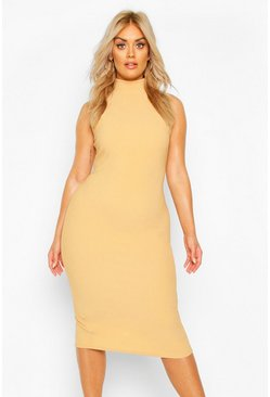 Womens Stone Plus Bandage Rib High Neck Midi Dress