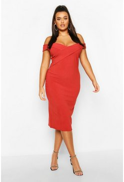 Womens Brick Plus Bandage Rib Bardot Midi Dress