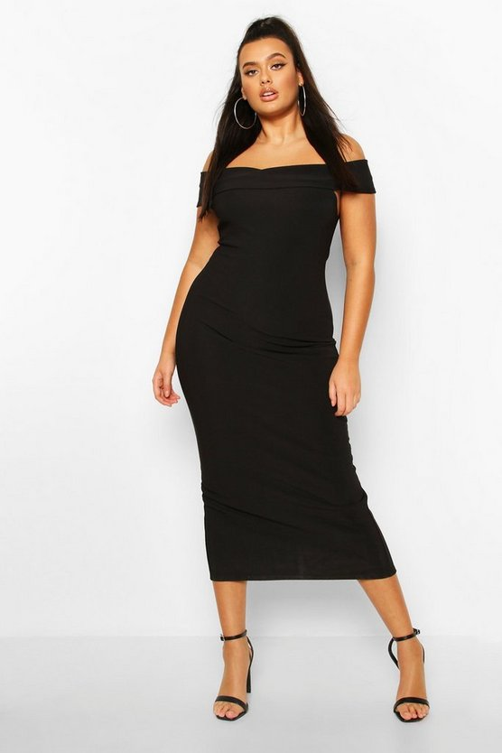 Womens Black Plus Bandage Rib Bardot Midaxi Dress