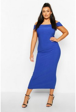 Womens Cobalt Plus Bandage Rib Bardot Midaxi Dress