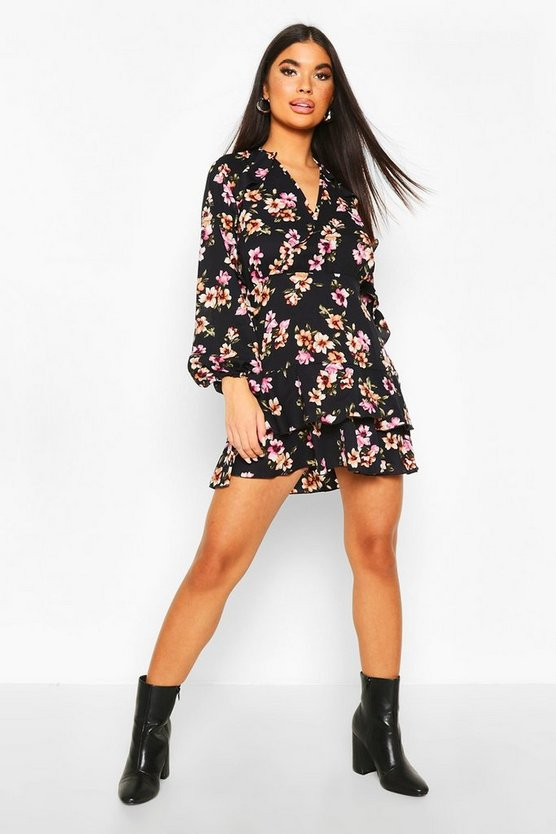 Petite Floral Frill Sleeve & Hem Wrap Dress