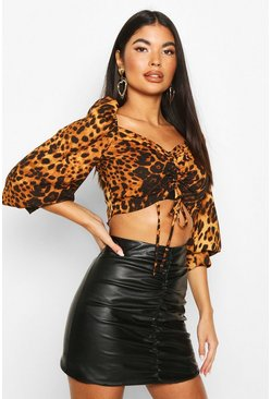 Womens Brown Petite Leopard Print Ruched Front Volume Sleeve Top