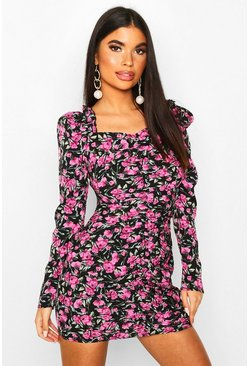 Petite Woven Floral Ruched Puff Sleeve Mini Dress, Black