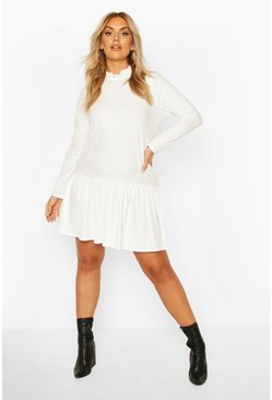 Cream Plus Ruffle Neck Soft Rib smock Dress