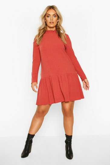 Tobacco Plus Ruffle Neck Soft Rib smock Dress