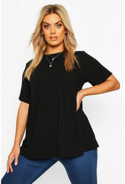 Womens Black Plus Rib Knitted Frill Hem Smock Top