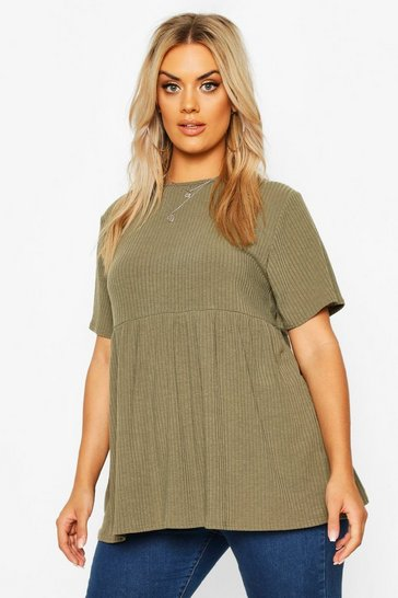 Womens Khaki Plus Rib Knitted Frill Hem Smock Top