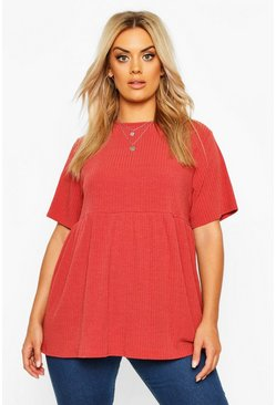 Womens Tobacco Plus Rib Knitted Frill Hem Smock Top