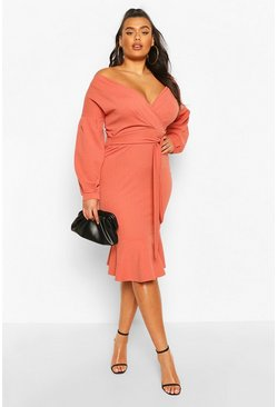 Rose Plus Plunge Wrap Front self Belted Midi Dress
