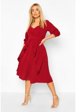 Plus Plunge Wrap Front self Belted Midi Dress, Wine