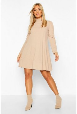 Plus Glitter Soft Rib Swing Dress With Puff Sleeve, Stone