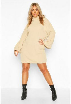 Plus Roll Neck Knitted Rib Balloon Sleeve Jumper Dress, Stone