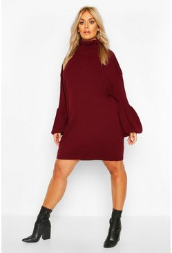 Wine Plus Roll Neck Knitted Rib Balloon Sleeve Jumper Dress