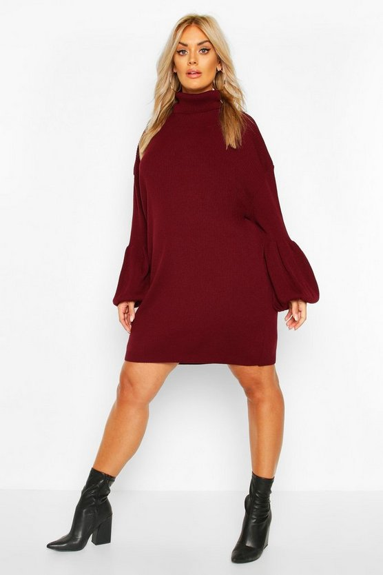 Plus Roll Neck Knitted Rib Balloon Sleeve Jumper Dress