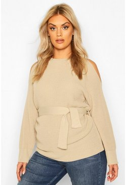 Womens Stone Plus Open Shoulder Tie Waist Jumper