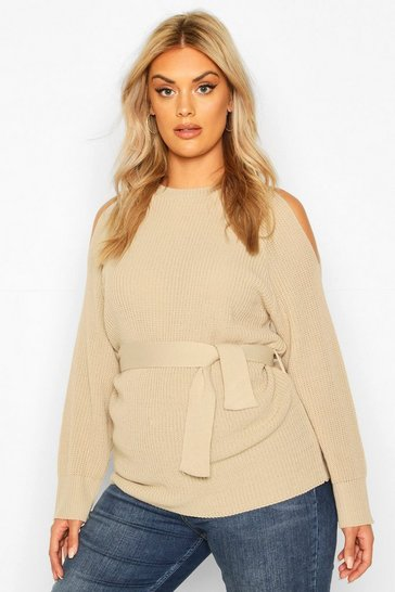 Stone Plus Open Shoulder Tie Waist Jumper