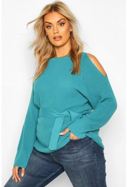 Plus Open Shoulder Tie Waist Jumper, Teal