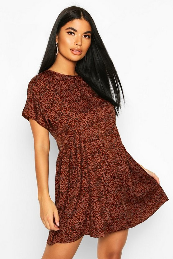 Rust Petite Short Sleeve Leopard Smock Dress