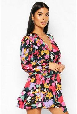 Petite Floral Long Sleeve Belted Wrap Dress, Black, Donna