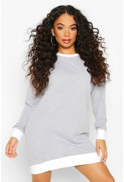 Petite Contrast Rib Sweat Dress, Grey