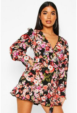 Black Petite Floral Fill Hem Belted Wrap Dress