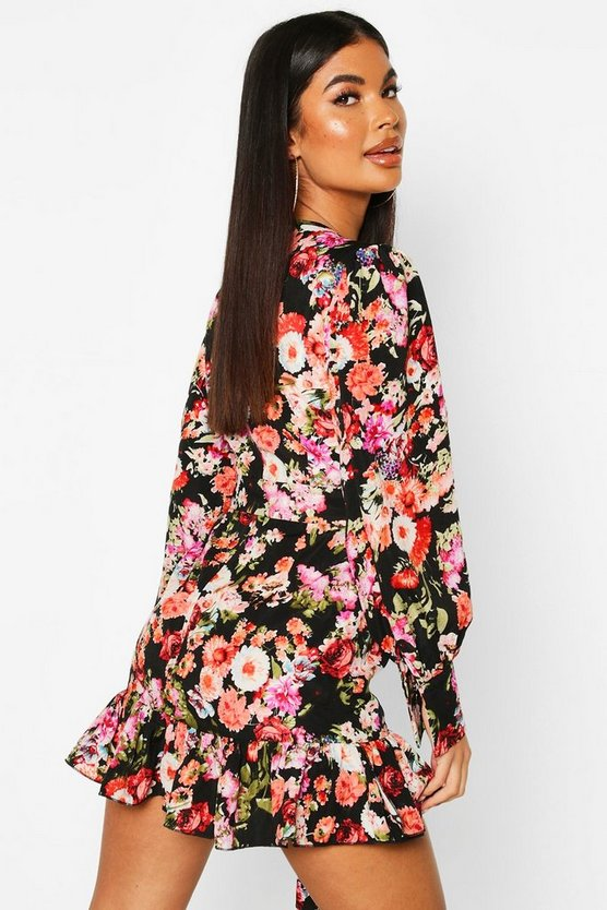 Petite Floral Fill Hem Belted Wrap Dress