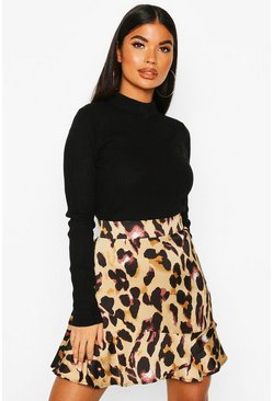 Petite Leopard Print Frill Hem Mini Skirt, Brown, ЖЕНСКОЕ