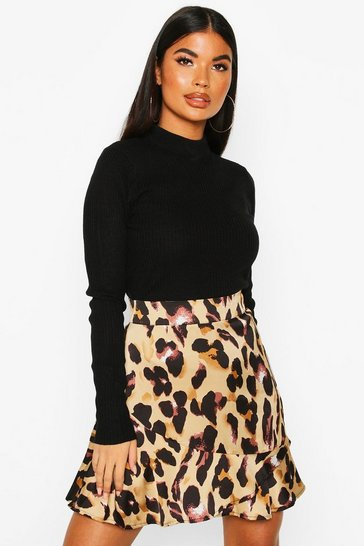 Womens Brown Petite Leopard Print Frill Hem Mini Skirt