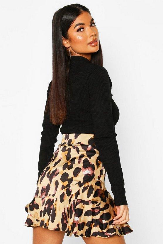 Petite Leopard Print Frill Hem Mini Skirt