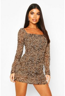 Petite Woven Volume Sleeve Leopard Ruched Dress, Brown, Donna