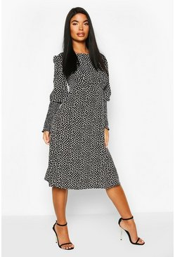 Black Petite Woven Smudge Print Shirred Sleeve Midi Dress